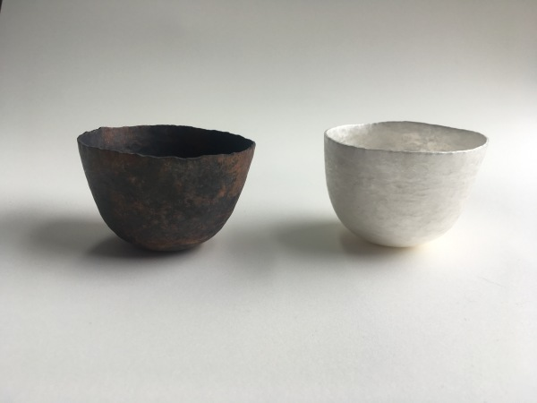 Copper and silver tumblers